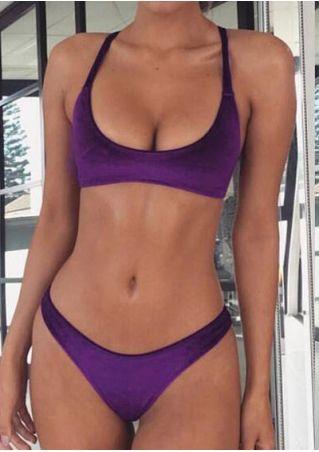 Solid Silk Velvet Bikini Set