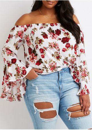 Plus Size Floral Off Shoulder Blouse without Necklace