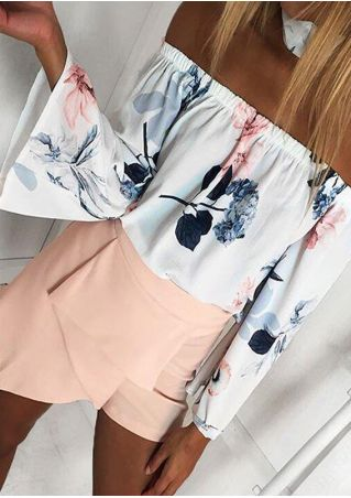 Floral Off Shoulder Flare Sleeve Blouse