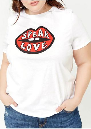 Plus Size Lip Speak Love T-Shirt