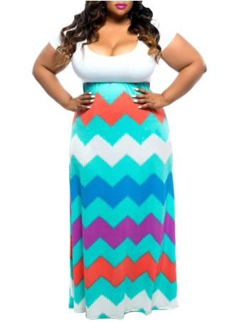 Plus Size Zigzag Splicing Maxi Dress