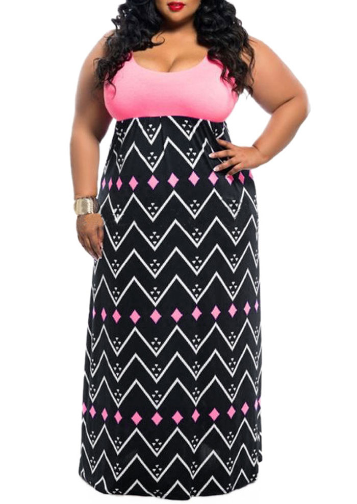 Plus Size Zigzag Splicing Sleeveless Maxi Dress