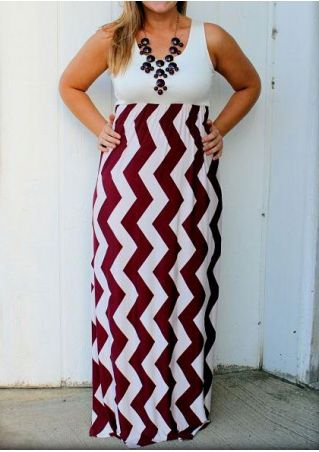 Plus Size Zigzag Splicing Sleeveless Maxi Dress without Necklace