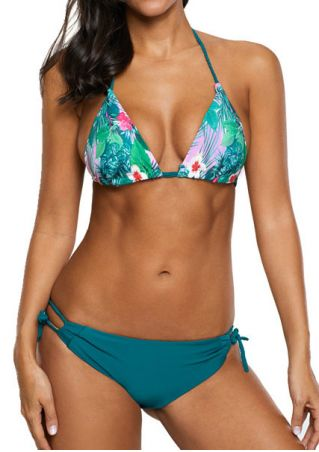 Floral Triangle Halter Bikini Set