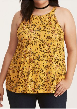 Plus Size Floral Butterfly Tank without Choker