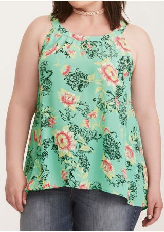 Plus Size Floral Sleeveless Tank without Choker