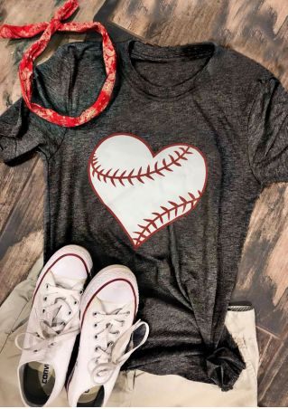 Baseball Heart O-Neck Short Sleeve T-Shirt