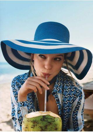 Striped Sun Straw Hat