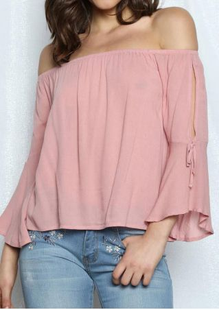Solid Off Shoulder Chiffon Blouse