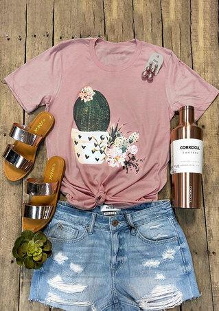 Cactus Floral O-Neck T-Shirt Tee - Pink