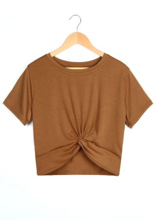 Solid Twist O-Neck Crop Top