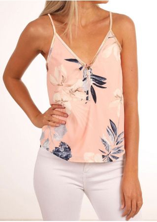 Floral Zipper V-Neck Camisole