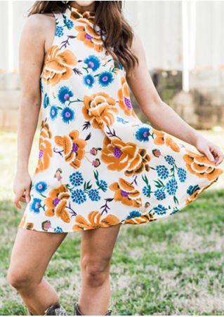 Floral Sleeveless Backless Mini Dress