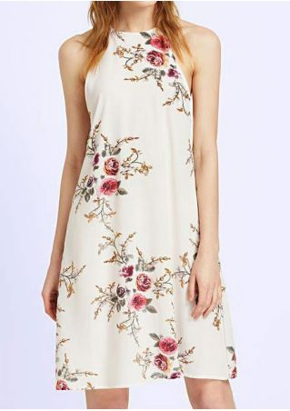 Floral Sleeveless Button Mini Dress