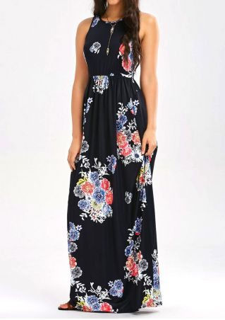Floral Sleeveless Pocket Maxi Dress without Necklace