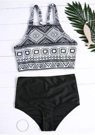 Geometric Printed High Waist Bikini Set