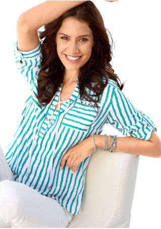 Striped Lace Up Pocket Shirt