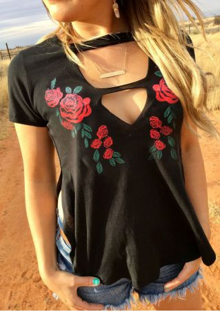 Floral Hollow Out Slit Blouse without Necklace