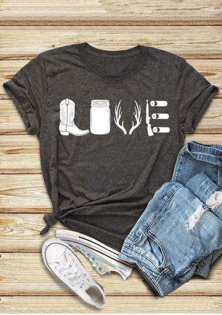 Love O-Neck Short Sleeve T-Shirt