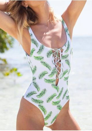 Leaf Lace Up Sexy Swimsuit