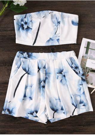 Floral Pocket Crop Top and Shorts Set