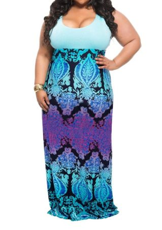 Plus Size Printed Splicing Sleeveless Maxi Dress