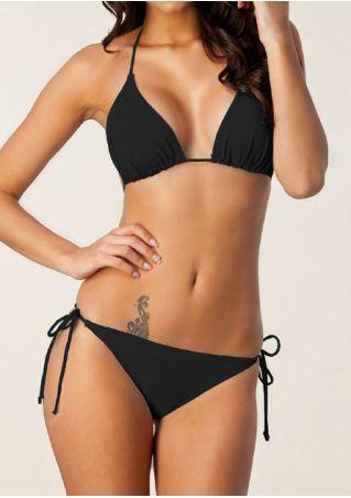 Solid Triangle Halter Bikini Set