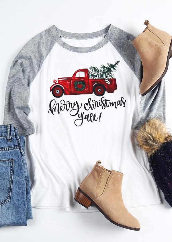 Merry Christmas Y\'all Baseball T-Shirt - Fairyseason