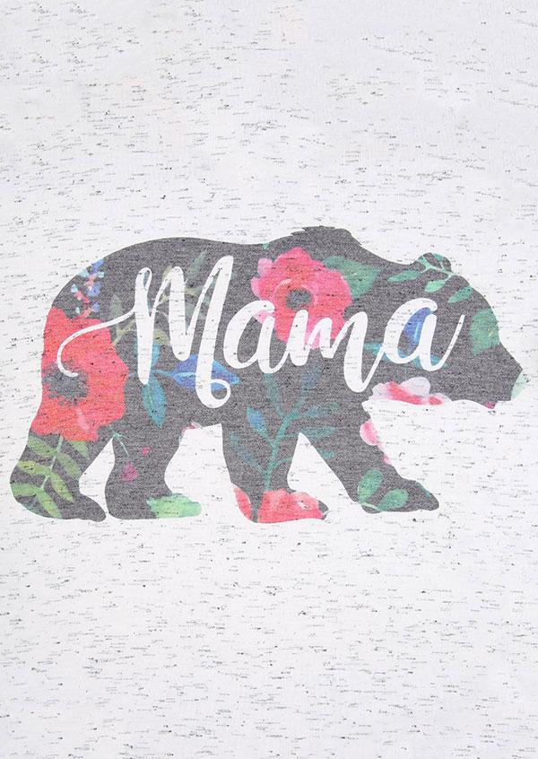 Mama Bear Floral V Neck T Shirt Fairyseason