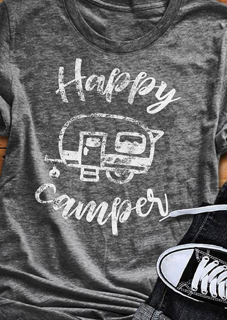 Tees T-shirts Happy Camper Short Sleeve T-Shirt in Gray. Size: S,M,L,XL фото