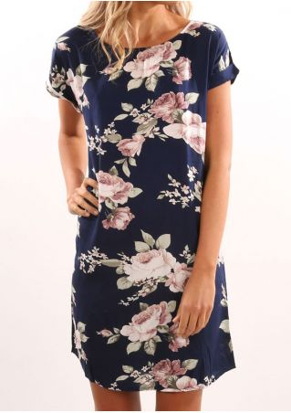 Floral O-Neck Short Sleeve Mini Dress