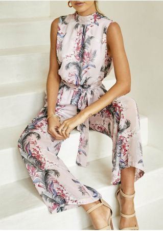 Floral Backless Sleeveless Jumpsuit