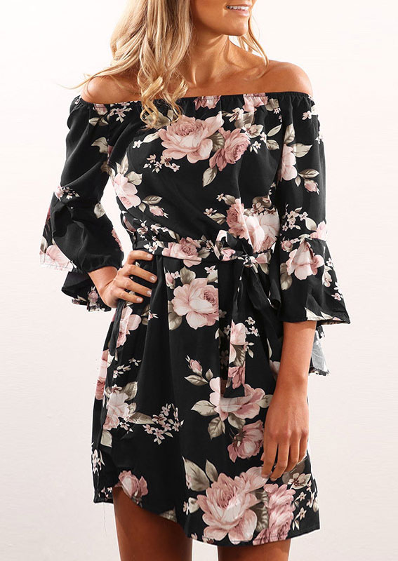 Mini Dresses Floral Off Shoulder Mini Dress in Black. Size: M фото