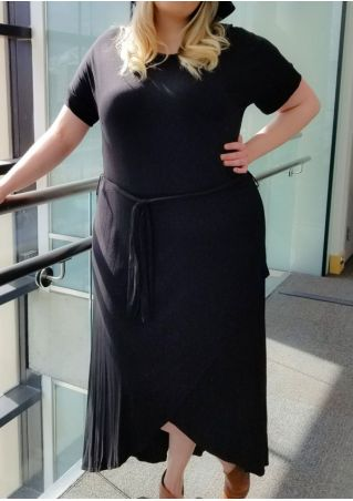 Plus Size Solid Asymmetric Short Sleeve Maxi Dress