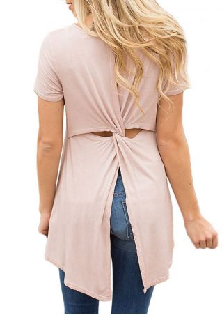 Solid Twist Asymmetric Blouse