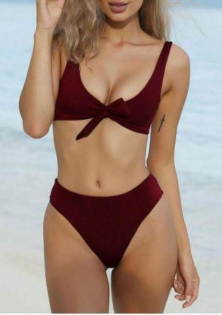 Solid Tie Sexy Bikini Set