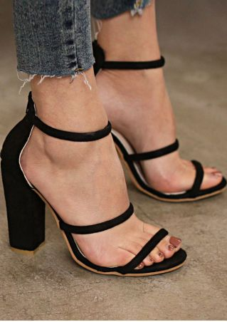 Summer Solid Zipper Heeled Sandals