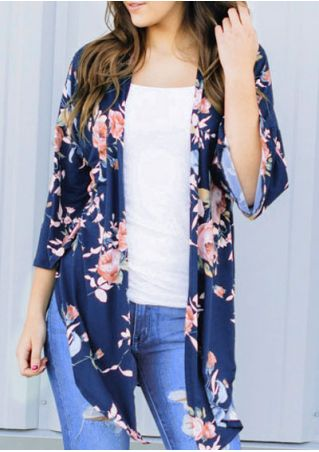 Floral Slit Three Quarter Sleeve Cardigan