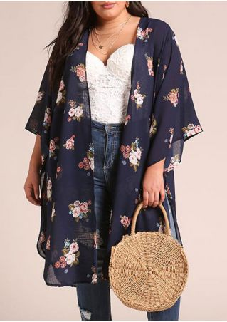 Plus Size Floral Slit Cardigan without Necklace