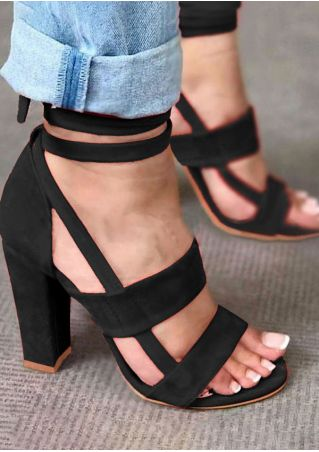 Summer Solid Ankle Wrap Heeled Sandals