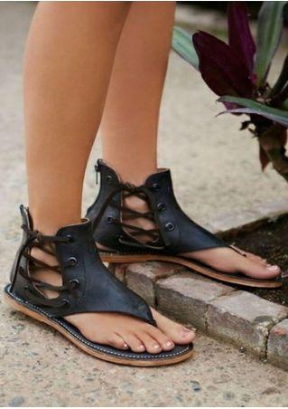 Lace Up Flip Flop Flat Sandals