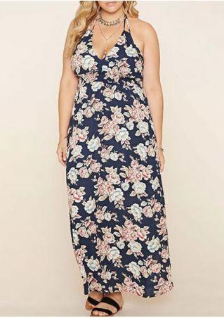 Plus Size Floral Deep V-Neck Maxi Dress without Necklace