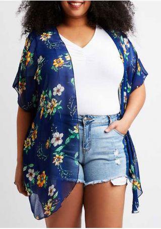 Plus Size Floral Short Sleeve Chiffon Cardigan