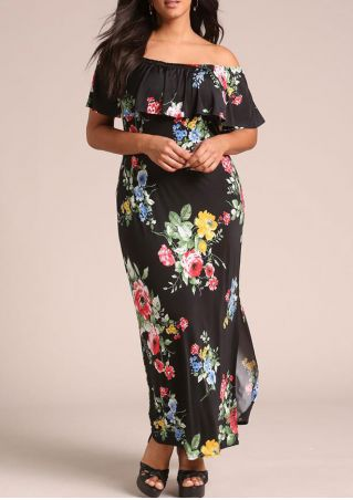 Plus Size Floral Layered Off Shoulder Maxi Dress