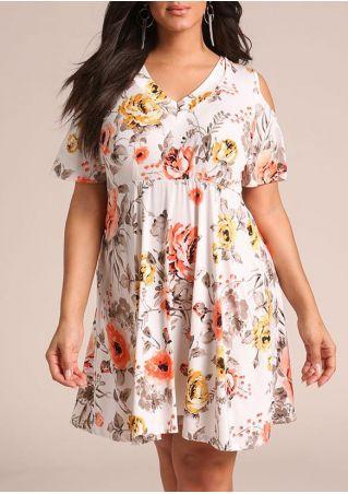 Plus Size Floral Cold Shoulder Mini Dress