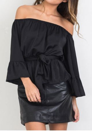 Solid Off Shoulder Blouse with Belt