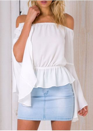 Solid Ruffled Off Shoulder Blouse