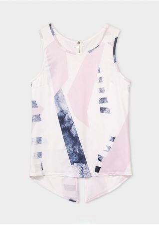 Color Block Zipper Asymmetric Tank