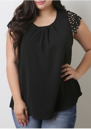 Solid Beading Lace Floral Splicing Blouse