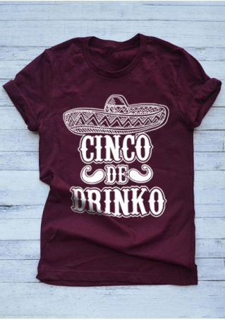 Cinco De Drinko Hat O-Neck T-Shirt
